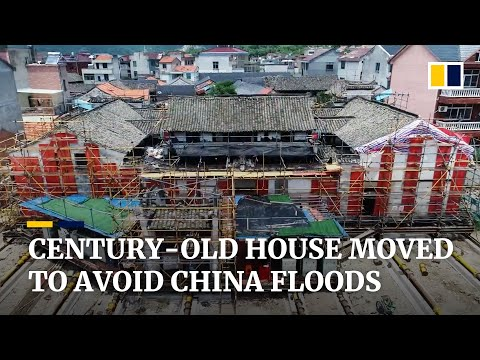 Century-old building moved out of way of floodwaters in eastern China