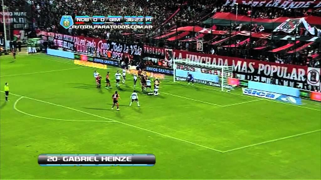 Gimnasia Vs Newells Picture: Gol Heinze. Newell's 1 Gimnasia LP 0. Torneo Inicial 2013