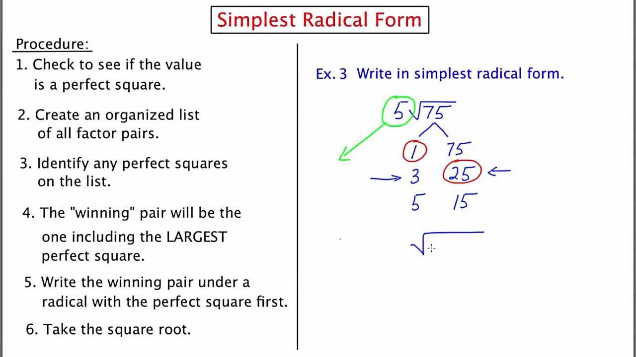 MathCamp321: Simplest Radical Form - YouTube