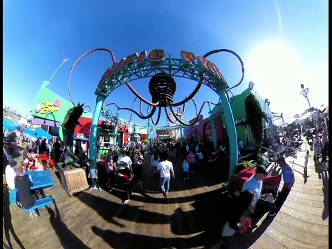 Tour of Sta. Monica Pier and Pacific Park (stabilized 360 video shot on Insta360 Nano)
