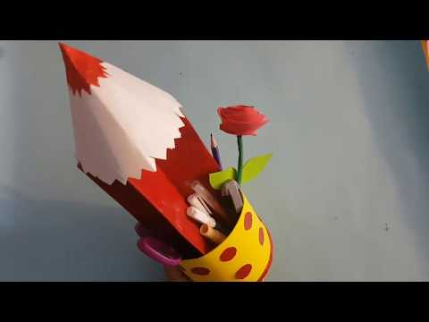 How to Make Paper Pencil Holder | DIY Pen Stand | Easy Paper Pencil Ideas For KIDS