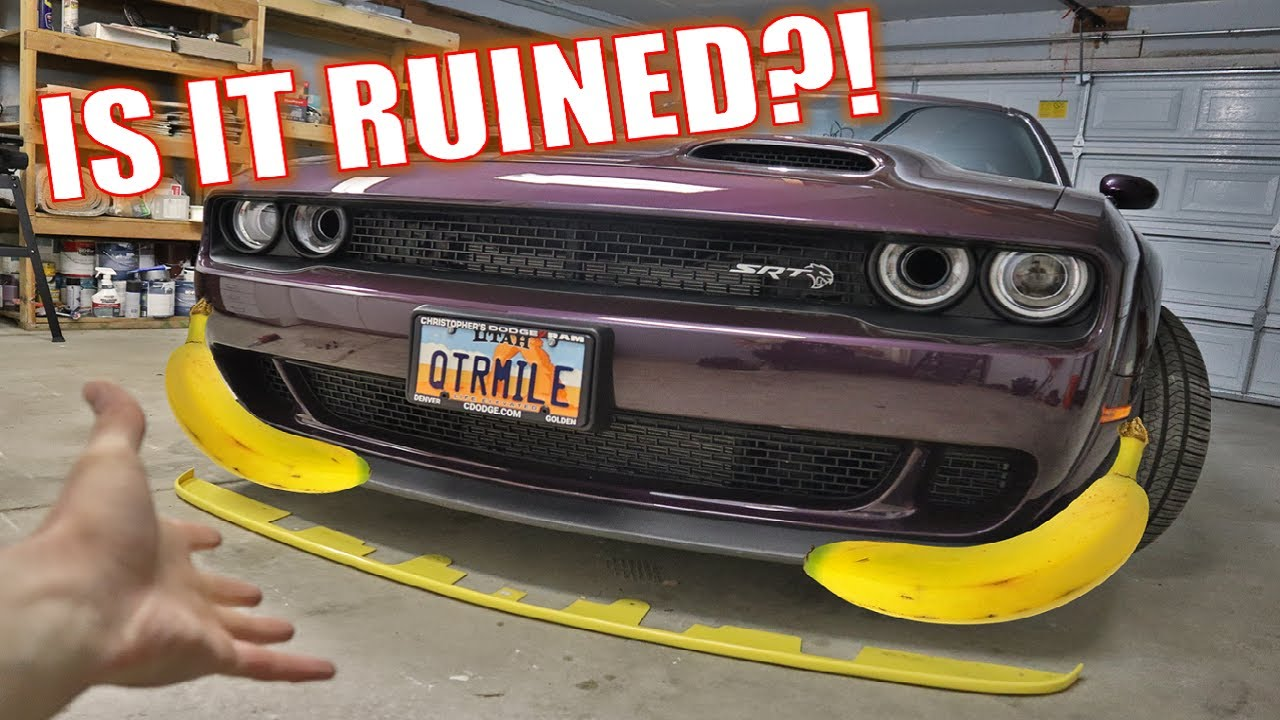 FINALLY TAKING 'THE BANANA' (YELLOW SPLITTER PROTECTOR) OFF OF MY DODGE CHALLENGER HELLCAT!