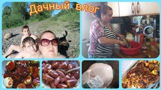 Дачный влог: отдых на даче/чем заняты?/шашлык на даче/рецепты маринада для курицы, сердечек и рыбы
