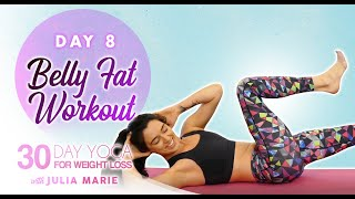 30 Day Yoga for Weight Loss, Julia Marie ♥ Essential Core Work for Abs & Belly Fat   30 Mins, Day 8