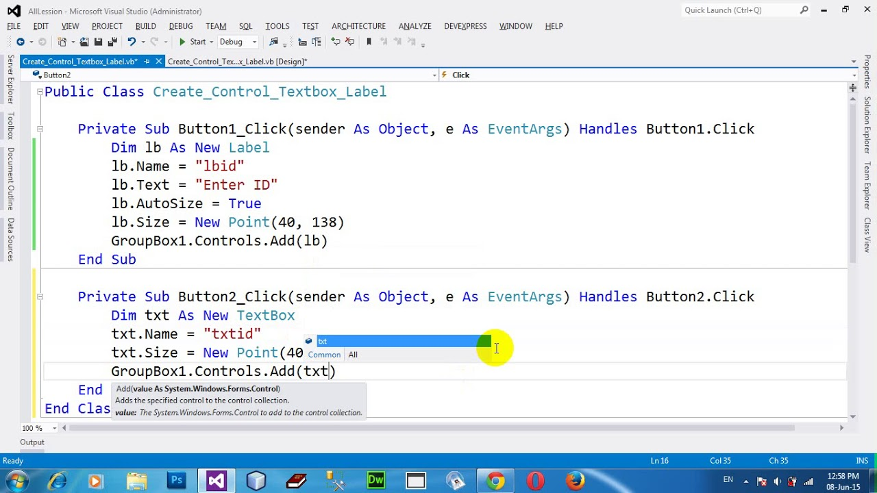 Create dynamic Textbox and Label in VB NET 2012