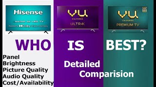 Hisense 4K TV vs VU Ultra 4k vs VU Premium 4K TV | Full Comparison #HisenseTV #VUTV
