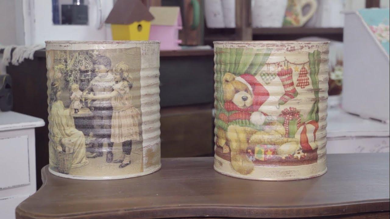 Adesivos De Coração Para Unhas ~ Descubra como fazer um artesanato natalino lindo usando latas Tudo aqui no Programa Evid u00eancia