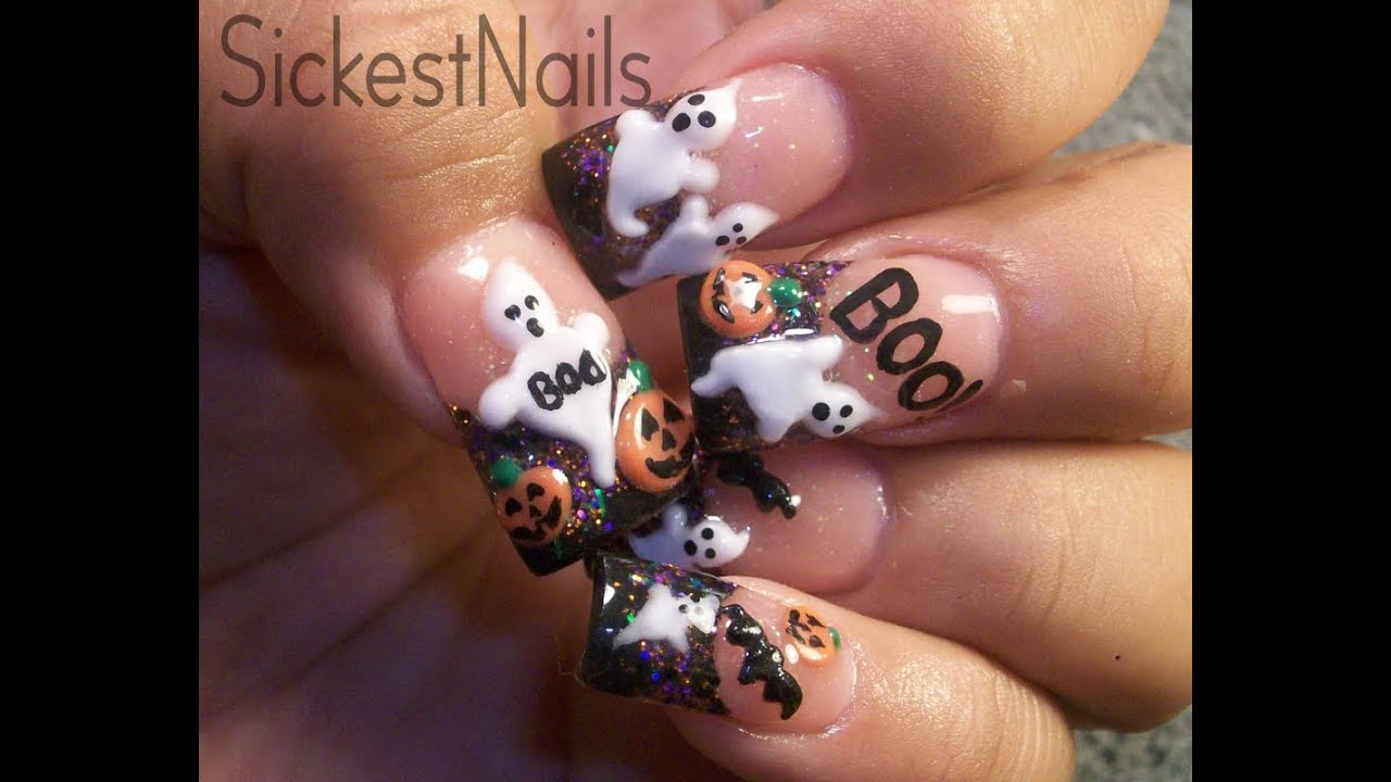 My Halloween Acrylic Nails:Cute 3d Ghost,Pumpkins,Bats #6 ...