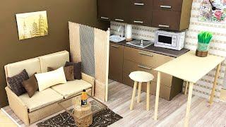 DIY Miniature Cardboard House. DIY Miniature Dollhouse. (Miniature Living Room. Miniature Kitchen)