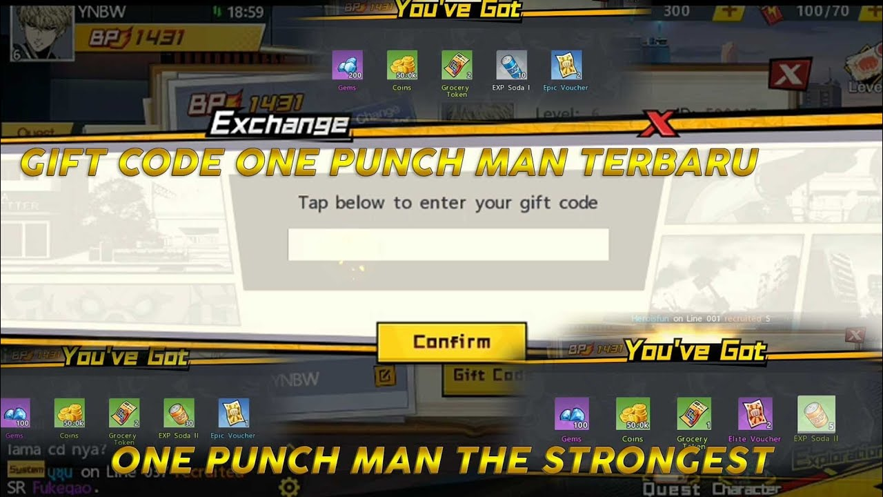 TERBARU!!!! GIFT CODE ONE PUNCH MAN ; THE STRONGEST - YouTube