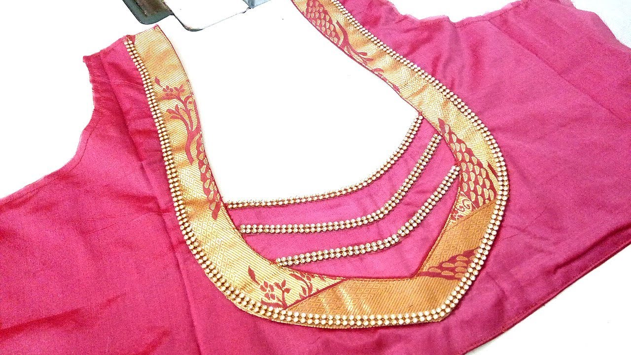 Gold Silk Saree Blouse Design Pongal Golden Border Blouse Back Neck Easy To Stitch