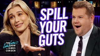James Corden and Hailey Bieber take turns asking each other very personal questions and are given the choice: answer truthfully or eat whatever food is in front of them. Foods include a bull's penis and bird saliva.  More Late Late Show: Subscribe: http://bit.ly/CordenYouTube Watch Full Episodes: http://bit.ly/1ENyPw4 Facebook: http://on.fb.me/19PIHLC Twitter: http://bit.ly/1Iv0q6k Instagram: http://bit.ly/latelategram  Watch The Late Late Show with James Corden weeknights at 12:35 AM ET/11:35 PM CT. Only on CBS.  Get new episodes of shows you love across devices the next day, stream live TV, and watch full seasons of CBS fan favorites anytime, anywhere with CBS All Access. Try it free! http://bit.ly/1OQA29B  --- Each week night, THE LATE LATE SHOW with JAMES CORDEN throws the ultimate late night after party with a mix of celebrity guests, edgy musical acts, games and sketches. Corden differentiates his show by offering viewers a peek behind-the-scenes into the green room, bringing all of his guests out at once and lending his musical and acting talents to various sketches. Additionally, bandleader Reggie Watts and the house band provide original, improvised music throughout the show. Since Corden took the reigns as host in March 2015, he has quickly become known for generating buzzworthy viral videos, such as Carpool Karaoke.""