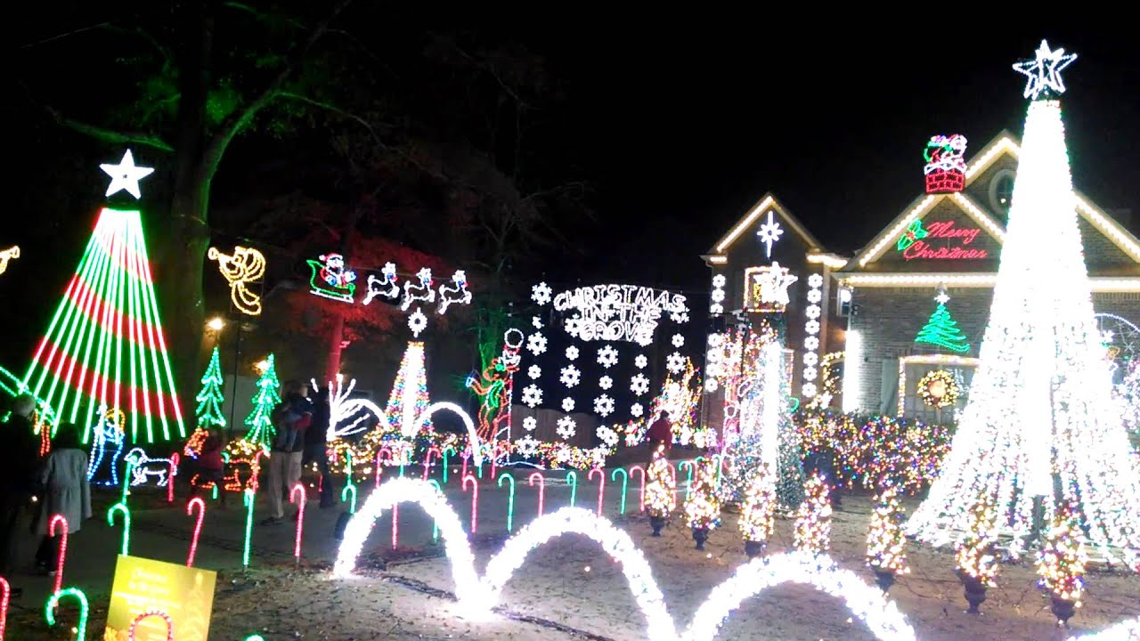 Christmas In The Grove #2 All lights on! - YouTube