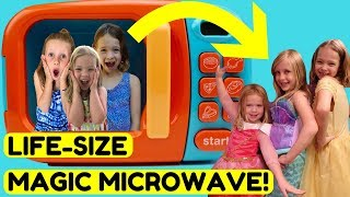 HUGE Magic Microwave Playing with Princesses in Real Life !!!