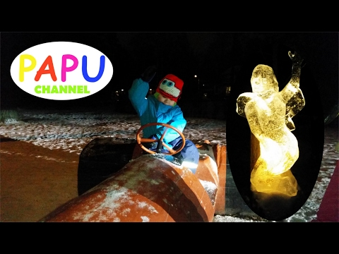 Elf Path - Ice Sculptures - Family Fun - Fantasy - Winter Playground - Videos for Kids