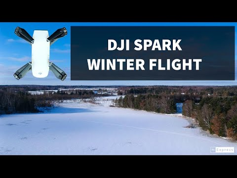 DJI Spark: Cold Winter Flight Over a Half Frozen Lake