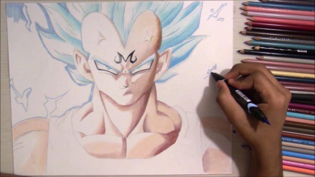 SSJ Blue Majin Vegeta   color pencil drawing   Mamdeen   YouTube