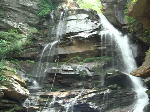 Bradley Waterfall rappel (canyoneering) trip at Green River Adventures in Saluda, North Carolina