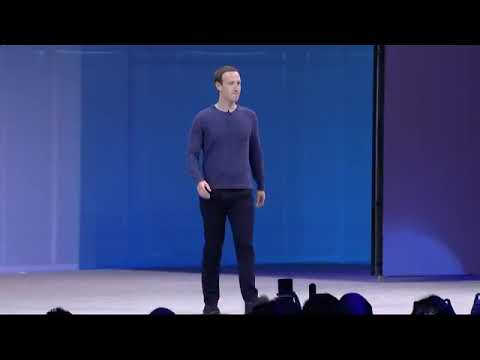 Mark Zuckerberg delivering the keynote address at the annual Facebook f8 developers conference.