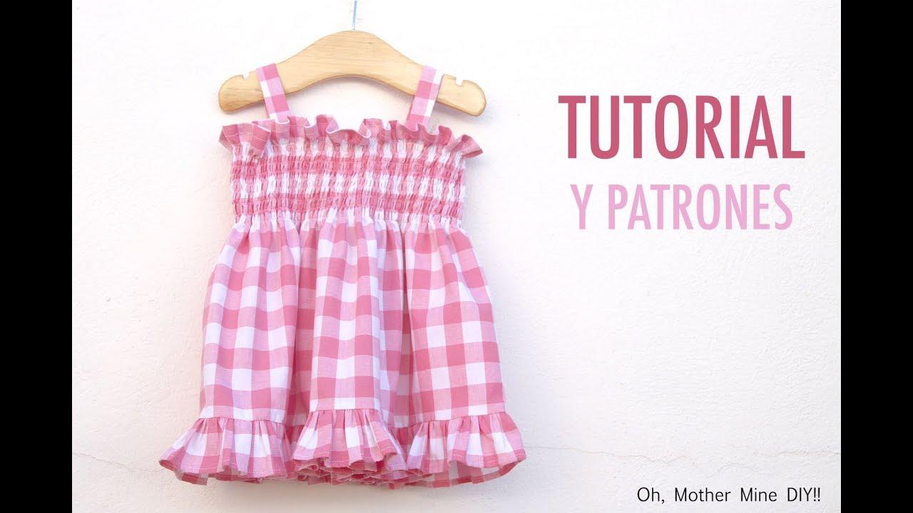 81b6dec54 Aprender a coser  Vestido fruncido para niñas (patrones gratis hasta talla  8 años)