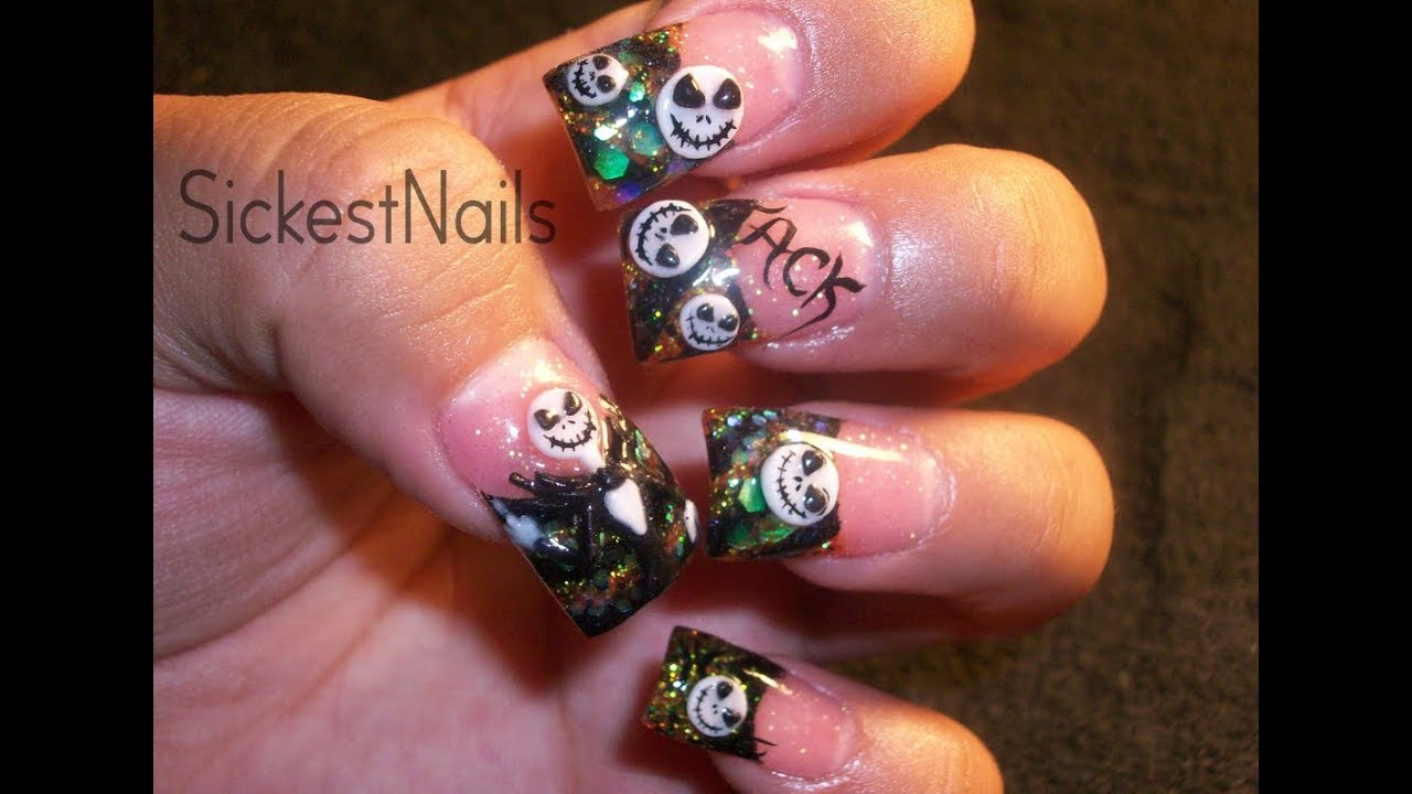 My Halloween Acrylic Nails :3d Jack Skellington Inspired ...