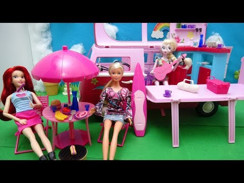 Disney Princess Frozen Elsa Ariel Barbie Hawaii Camper Bus Steffi Love Picnic