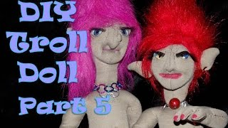 How to Make a Fabric Doll - Troll Doll DIY  - Soft Sculpting  Nose - Part 5