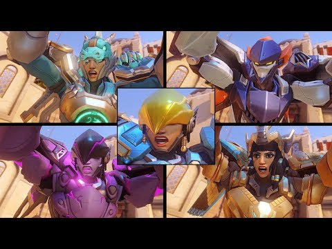 Overwatch - All Pharah Skins with All Highlight Intros!