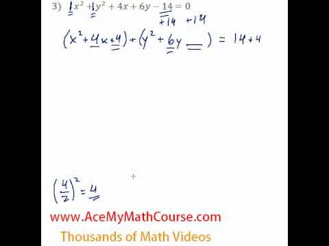 Conics General To Standard Form 3 Youtube