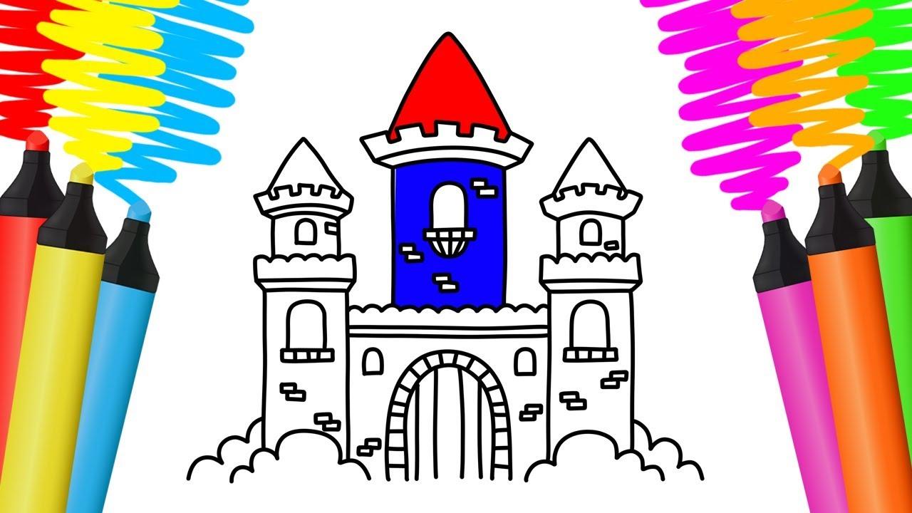 como desenhar castelo desenho para colorir youtube