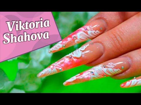 Наращивание ногтей. Дизайн ногтей. Пошаговое выполнение.
