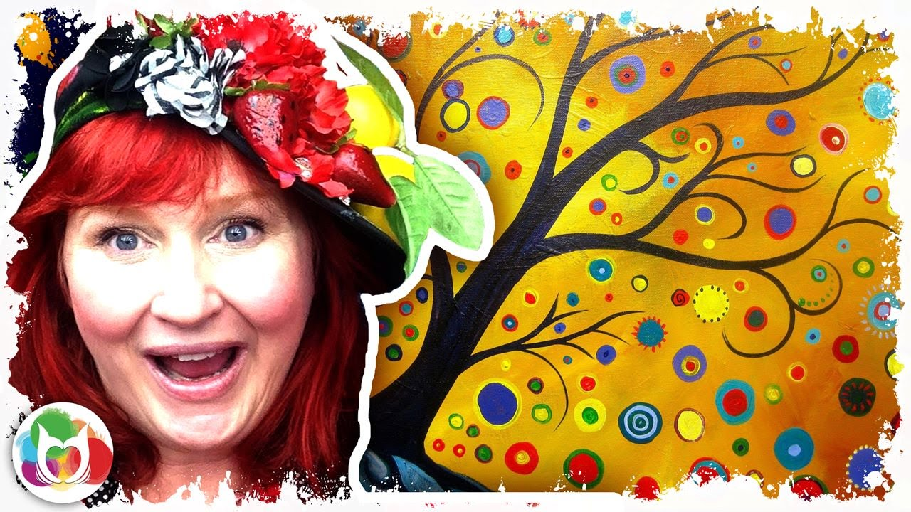 How to paint  Abstract Bohemian Tree  Acrylic for Beginners  YouTube