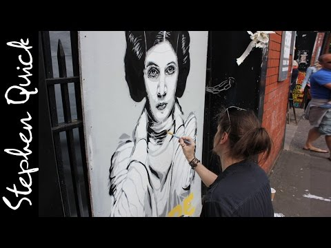 STAR WARS STREET ART || SPRAY PAINTING PRINCESS LEIA // Stephen Quick