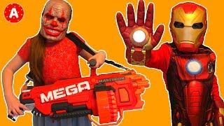 Superhero IronMan vs Mask with NERF Mega Mastodon
