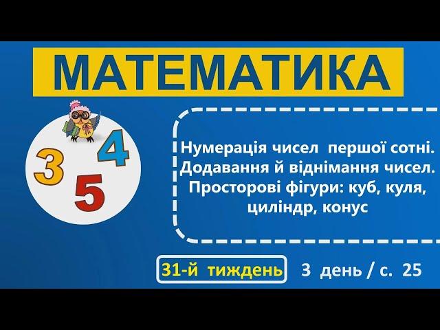 1 клас. Математика. Нумерація чисео першої сотні. Додавання й віднімання чисел. Просторові фігури: куб, куля, циліндр, конус.