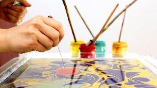 Как рисовать по воде? Техника Эбру. Вытворяшки(Учимся рисовать потрясающе красивым способом! Вытворяшки - канал о рукоделии и обо всем, что вы можете..., 2016-01-15T02:30:00.000Z)