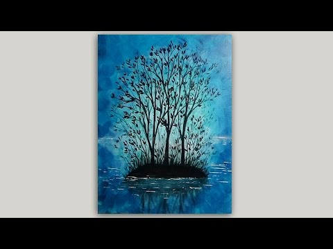 Sunrise Island and Trees Silhouette Painting Step by Step Tutorial in Acrylics with Abstract Backgro
