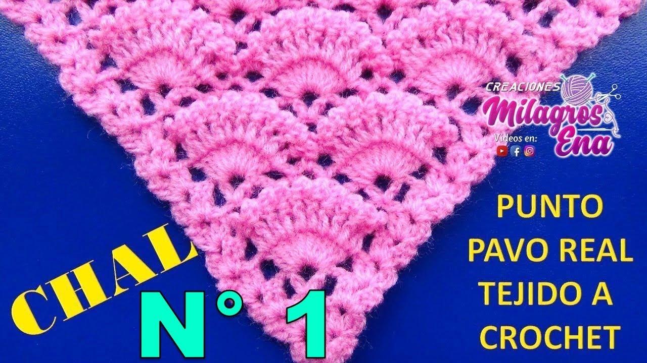Punto a crochet PAVO REAL para Chales triangulares, en V o en punta ...