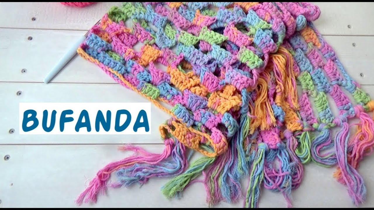 COMO HACER UNA BUFANDA A CROCHET FACIL | GANCHILLO FACIL - YouTube