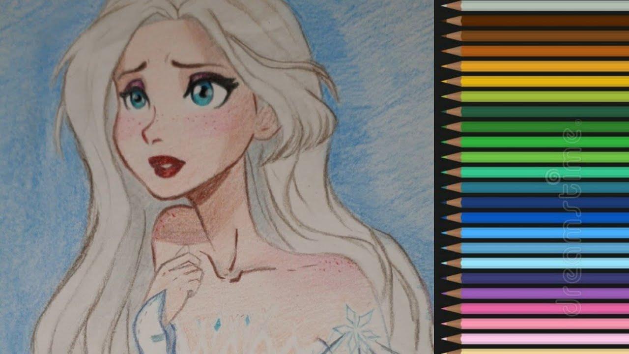 تعلم خطوة خطوة رسم إلسا من فروزن 2 سهل جدا Drawing Frozen 2 Dessiner Elsa Youtube