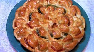 Пирог хризантема с мармеладом ./Пирог рецепт ./Дрожжевой пирог .Пирог тесто .