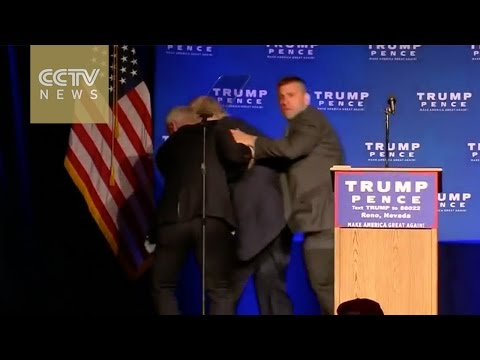 US presidential nominee Donald Trump hustled off stage during campaign in Reno over security threat
