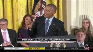 Barack Obama presents Kareem Abdul-Jabbar with Presidential Medal of Freedom