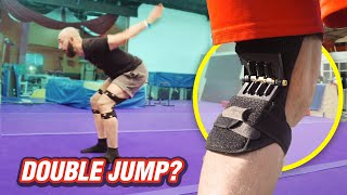 Spring Loaded Knee Braces on Gymnastics Spring Floor!