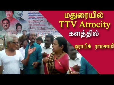 ttv atrocity @ madurai traffic ramaswamy fights CR Saraswathi tamil live news, tamil news redpix