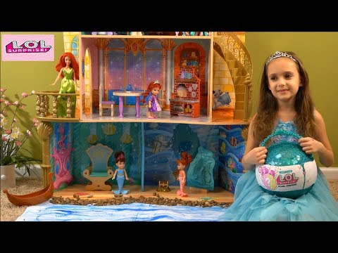 Princess Story: Little Mermaid Ariela and her Mermaid Sisters Open Giant Pearl LOL with LOL Dolls