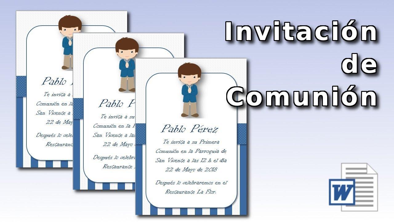 Cómo Hacer Una Invitación De Comunión Gratis Con Word Communion Invitation