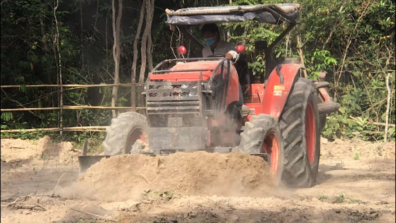 Tractor Pushing Over Tree At Work   Power Tractor Pushing Dirt   ត្រាក់ទ័ររុញព្រៃ