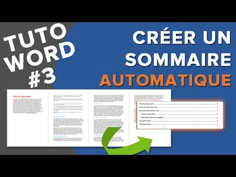 Word Réaliser Un Sommaire Automatique En 2 étapes