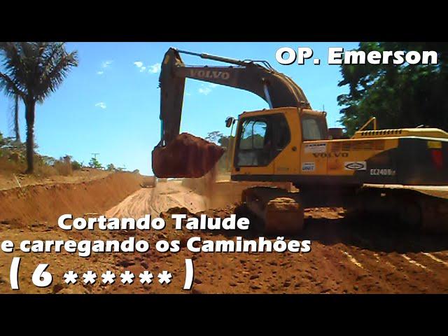 Volvo Escavadeira EC240 na  BR 163,  corte em rampa de um pra um